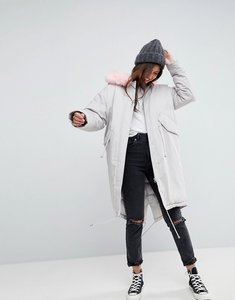 Read more about Asos oversized parka with pink faux fur hood - grey