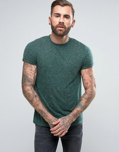 Read more about Asos t-shirt with roll sleeve in textured linen fabric - dark green