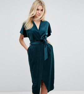 Read more about Closet london premium allover velvet wrap dress with kimono sleeve - emerald green