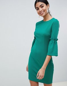 Read more about Ax paris long sleeve shift dress with tie detail - green