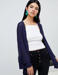 Read more about Brave soul frill sleeve cardigan in chenille - navy
