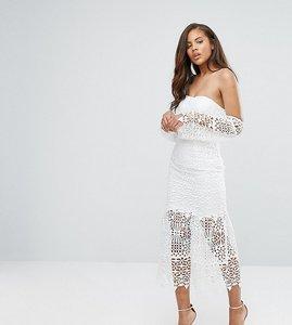 Read more about Jarlo tall bardot cutwork lace midi dress - white