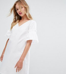 Read more about Monki ruffle sleeve poplin smock dress - white