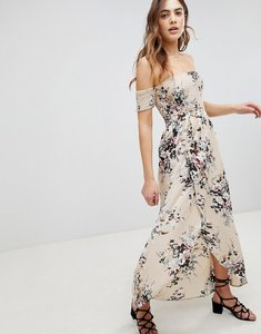 Read more about Brave soul eugene bardot shirred maxi dress in floral print - beige