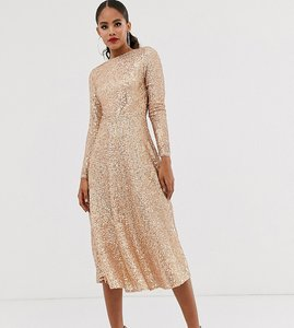 Read more about Tfnc tall a-line sequin midi dress in rose gold