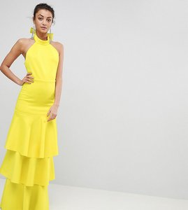 Read more about Asos tall halter neck tiered bow back maxi dress - yellow