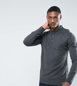 Read more about French connection tall knitted long sleeve polo - grey