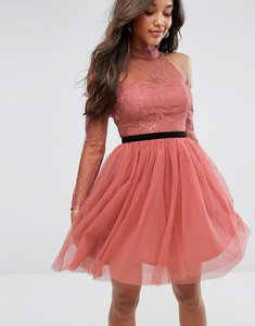 Read more about Asos premium tulle cold shoulder mini prom dress - rose