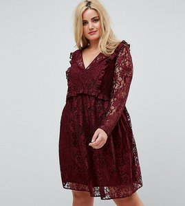 Read more about Asos curve lace smock mini dress with ruffles - oxblood