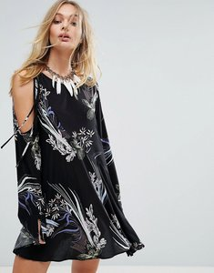 Read more about Free people clear skies cold shoulder printed dress - black