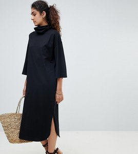Read more about Asos design tall high neck midi swing dress with trumpet sleeves