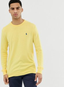 Read more about Polo ralph lauren player logo pima cotton knit jumper slim fit in yellow