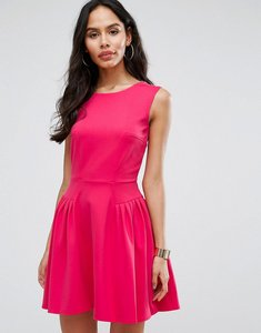 Read more about Closet london skater dress with pintucks - coral