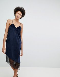 Read more about N12h after hours lace trim slip dress - navy stripe