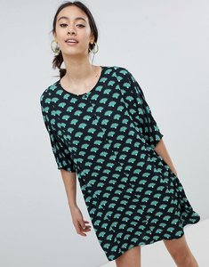 Read more about Monki fan print smock dress - palm print