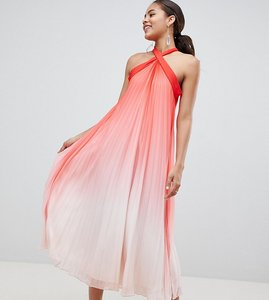 Read more about John zack tall high neck pleated maxi dress - pink ombre