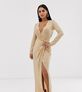 Read more about Flounce london petite sequin stretch maxi dress in gold