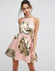Read more about Asos pinny jacquard mini prom dress - pink