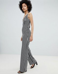 Read more about Miss selfridge stripe wide leg cami jumpsuit - multi