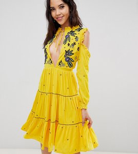 Read more about Frock and frill tall cold shoulder velvet smock dress with floral embroidery - yellow