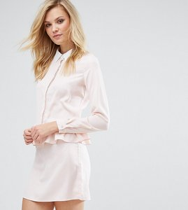 Read more about Fashion union tall long sleeve frill detail dress with collar detail - nude