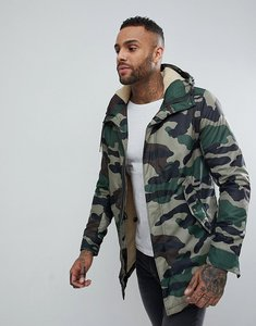 Read more about Pull bear borg lined parka jacket in camo - khaki