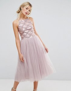 Read more about Little mistress tulle dress with sequin upper - mink
