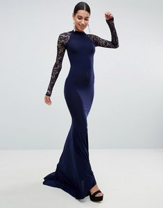 Read more about Club l open back slinky fishtail maxi dress with detailed lace open back - navy