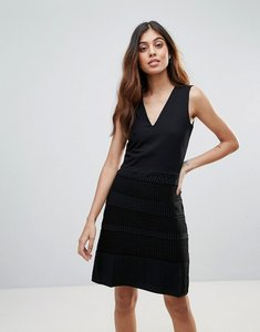 Read more about French connection pleat lace dress - black