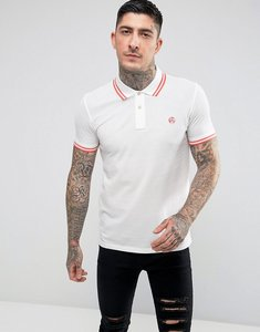 Read more about Ps paul smith slim fit twin tipped ps logo polo shirt in white - white