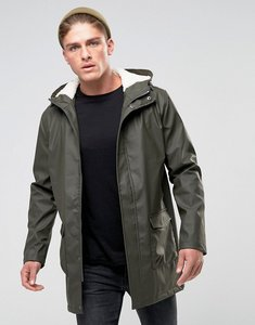 Read more about French connection shine fishtail hooded mac with borg lining - green