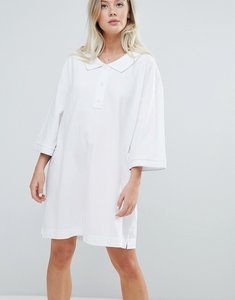 Read more about Weekday pique polo dress in white - white
