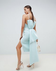 Read more about Asos design premium u bar bow back bodycon midi dress - aqua