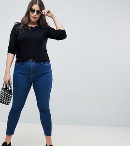 Read more about Asos design curve ridley high waist skinny jeans in lisbeth wash - mid wash blue