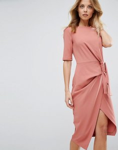 Read more about Asos pencil dress with knot front detail - mink
