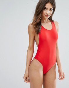 Read more about Missguided high leg swimsuit - red