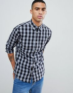 Read more about Jack jones essentials slim fit gingham shirt - dark grey
