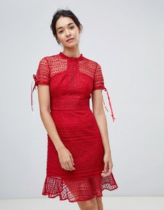Read more about Chi chi london allover lace midi dress with high neck and short sleeve in wine