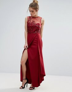 Read more about Little mistress red lace applique maxi dress - scarlet