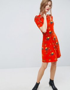 Read more about Asos mini tea dress with ruched shoulders in bird print - bird print