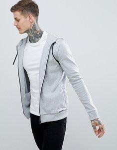 Read more about Hugo daple zip-thru small logo hoodie in grey - grey