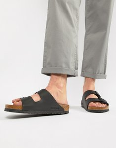 Read more about Birkenstock arizona birko-flor sandals in black - black