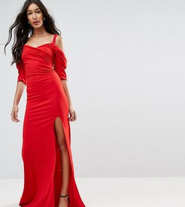 Read more about Tfnc tall fishtail maxi dress with 80 s off shoulder - red