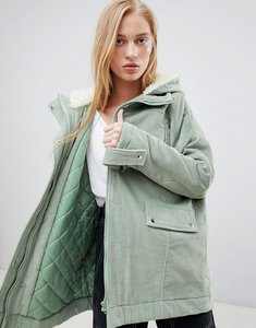 Read more about Asos design cord borg hooded parka - mint