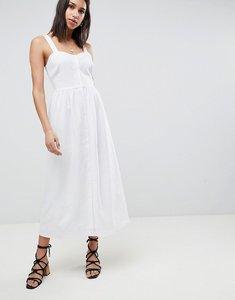Read more about Asos design linen button through maxi dress - white