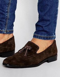 Read more about Asos loafers in brown suede with tassel - brown