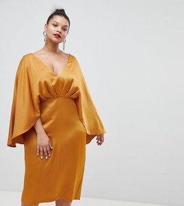 Read more about Asos design curve satin cape kimono sleeve deep plunge midi dress - yellow