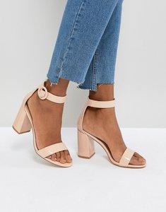 7649b3fe932 asos hayden block heeled sandals nude metallic - Shop asos hayden ...