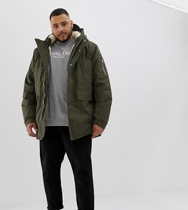 Read more about Bellfield plus borg lined parka with hood - khaki