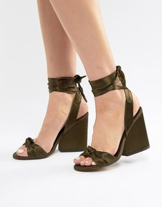 Read more about Asos design hazy knotted heeled sandals - khaki satin
